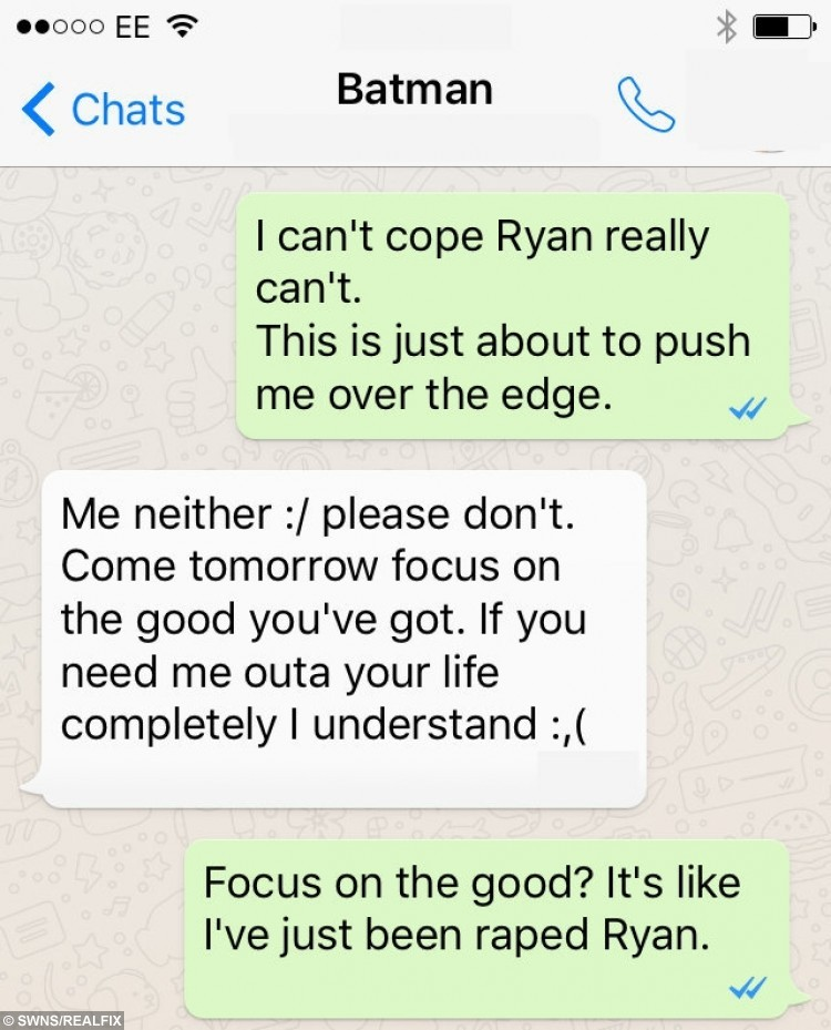 WhatsApp conversations between Falconer (white bubbles) and alleged victim (green bubbles) *Reconstructed conversations handed out by the court*