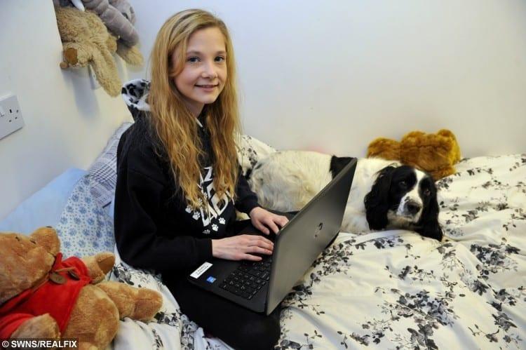 Emma Carlill with her pet dog Pogo