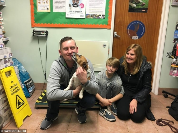Jo Healy with Libby the dog pictured with Leo Savill and Cheryl Savill