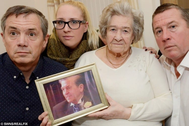 Catherine Wilce with her sons John and Alan, her grandaughter Rachel Wilce and a photograph of her late husband John Henry Wilce