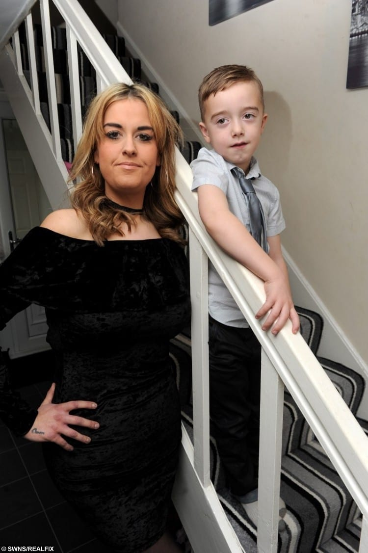 Stacey Lamb with son Owen after she lost nine stone in weight following the death of her baby