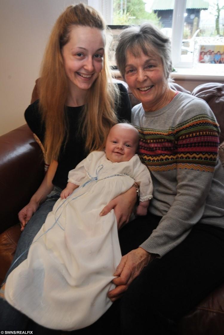Harrison (who seems pleased with his attire!), mum Evangeline Mrkalj and grandma Linda Mrkalj.