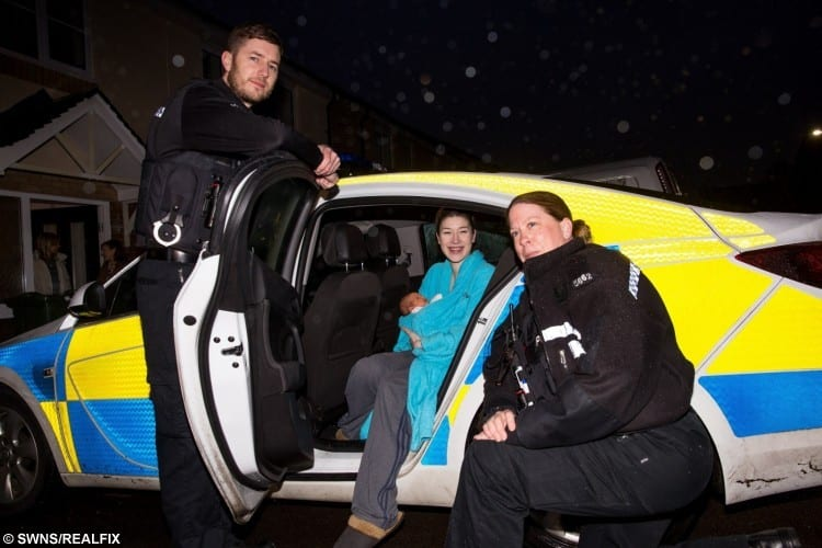 PC Chris Kramarczyk, Emily McBride (20) holding Darcy Carson McBride (1 day) & PC Andrea Rowley