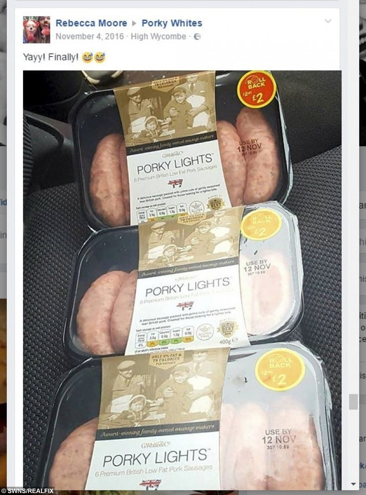 A social media post about Porky Lights sausages which are creating a fuss in the slimming world after they were labelled great for people losing weight.