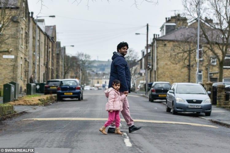 Little Tamjida Amreen (known as Amreen), 3, walked home from nursery on her own unbeknownst to her teachers or father Akbar Ali, 28, also pictured, in Bradford