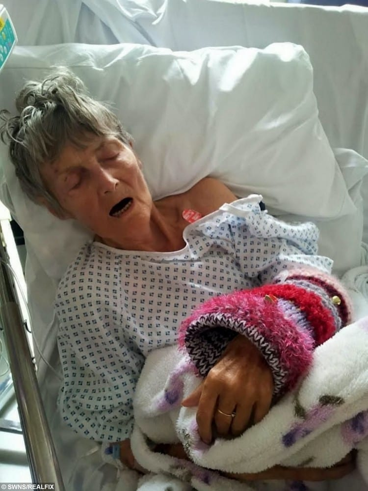 Pamela Matthews in hospital after she was moved out of Woodbine Manor care home and shortly before her death.