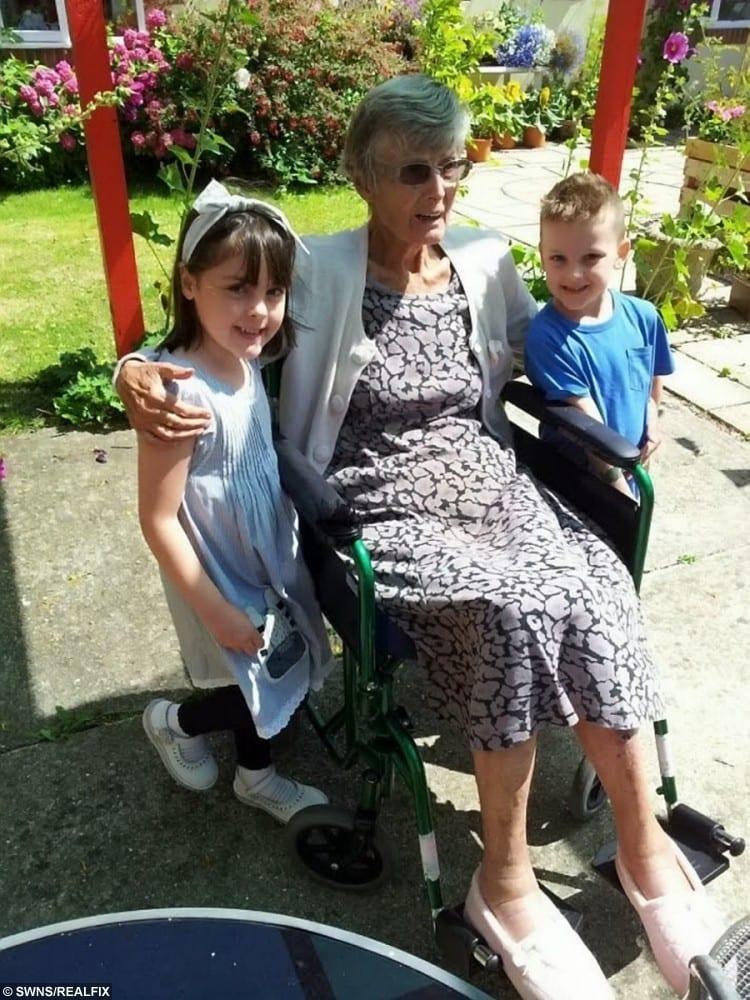 Pamela Matthews with her great grandchildren Sophie and Lucas Ioannou in happier times.