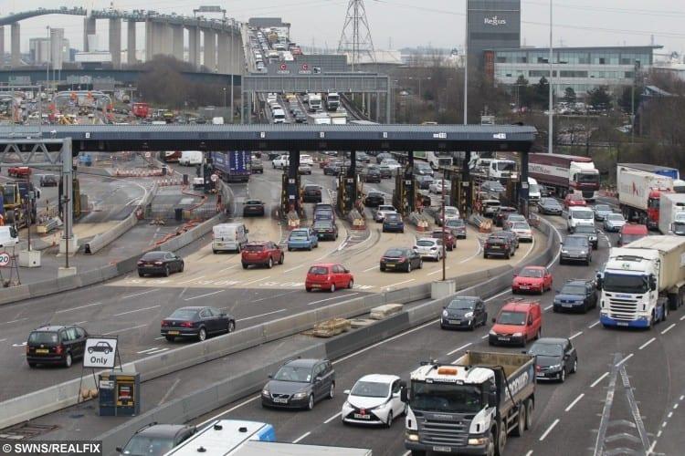 Traffic at the Dartford Tolls.