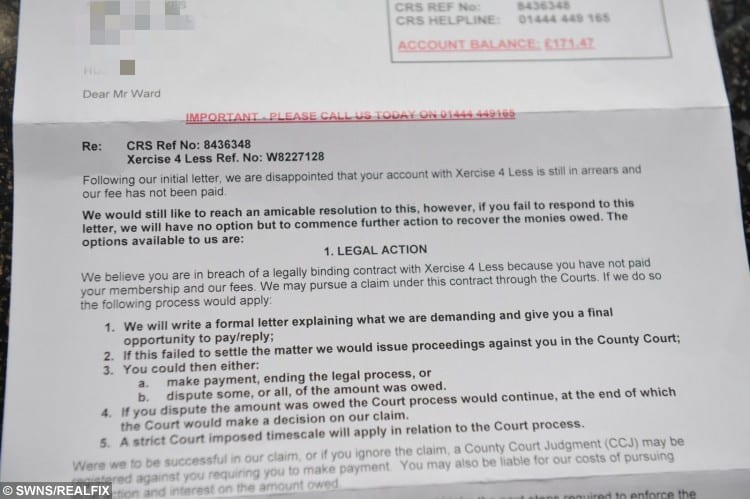 Richard Ward from east Hull tried to cancel his xercise4less gym membership but is now being asked to pay £175 for no reason.