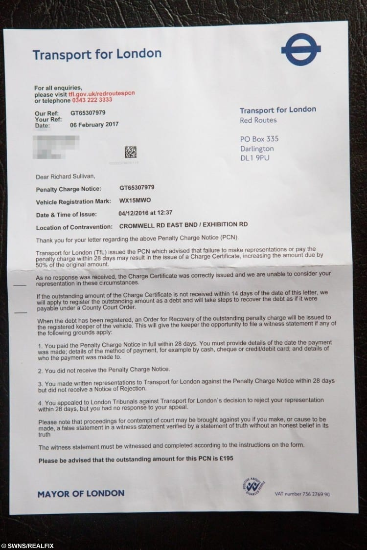 Richard said he called Transport for London to complain five times regarding the fine