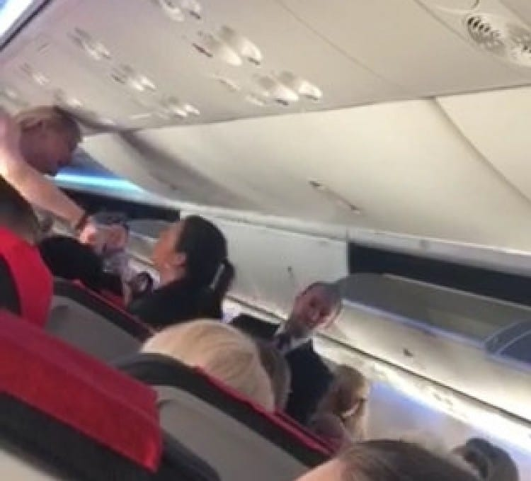 """This is the moment a witness says she caught a """"boozed up"""" hen party reveller having a drunken row with a bride-to-be - on a FLIGHT."""