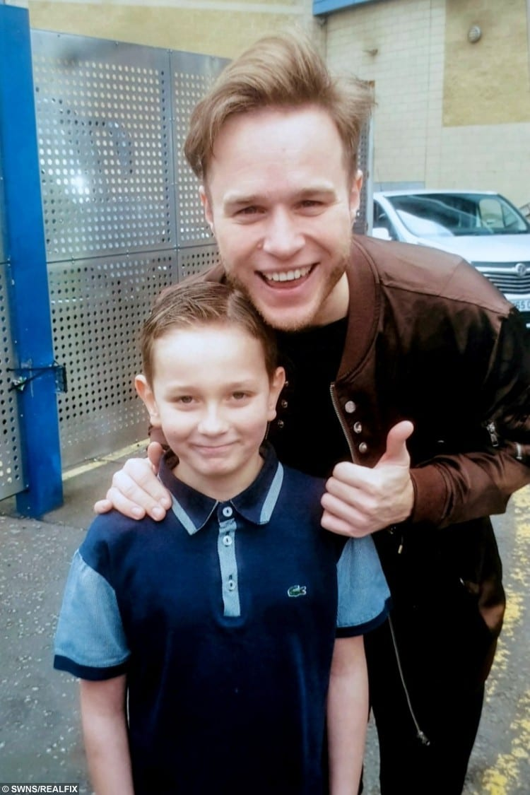 William Smedley, 11, of Ilkeston, Derbyshire, meeting Olly Murs.