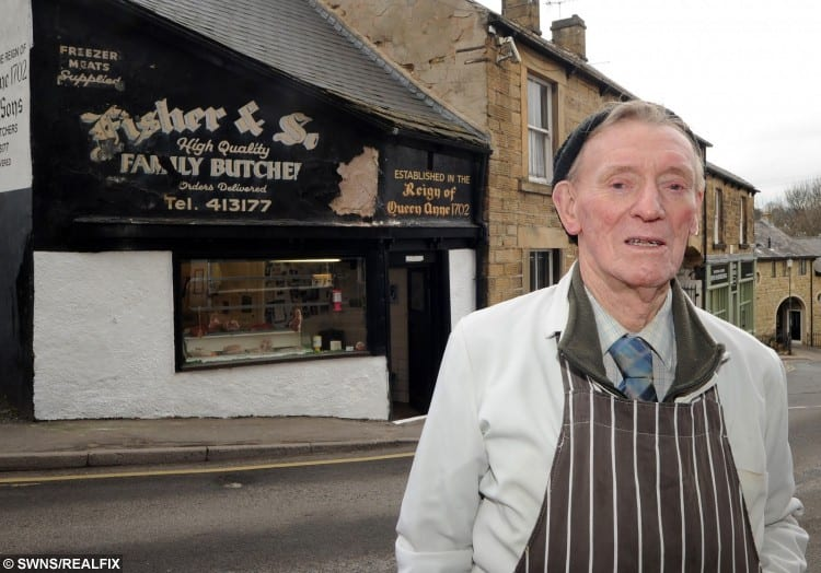 86-years-old Butcher Frank Fisher is still running his own business.