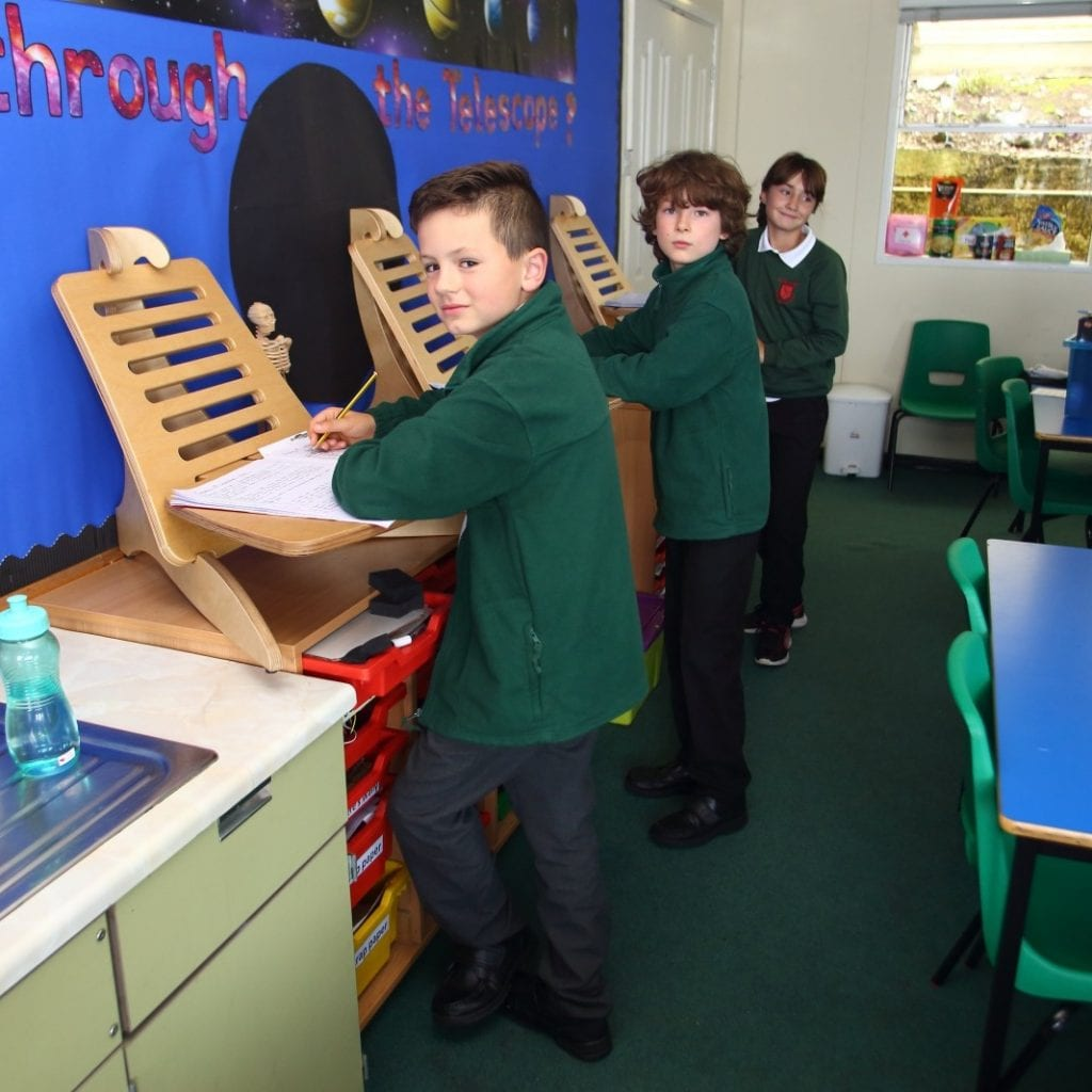 Primary School Introduces Standing Desks For Children To