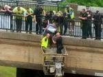 Hero Scaffolders Use Harness And Cherry Picker To Save Woman On A Bridge