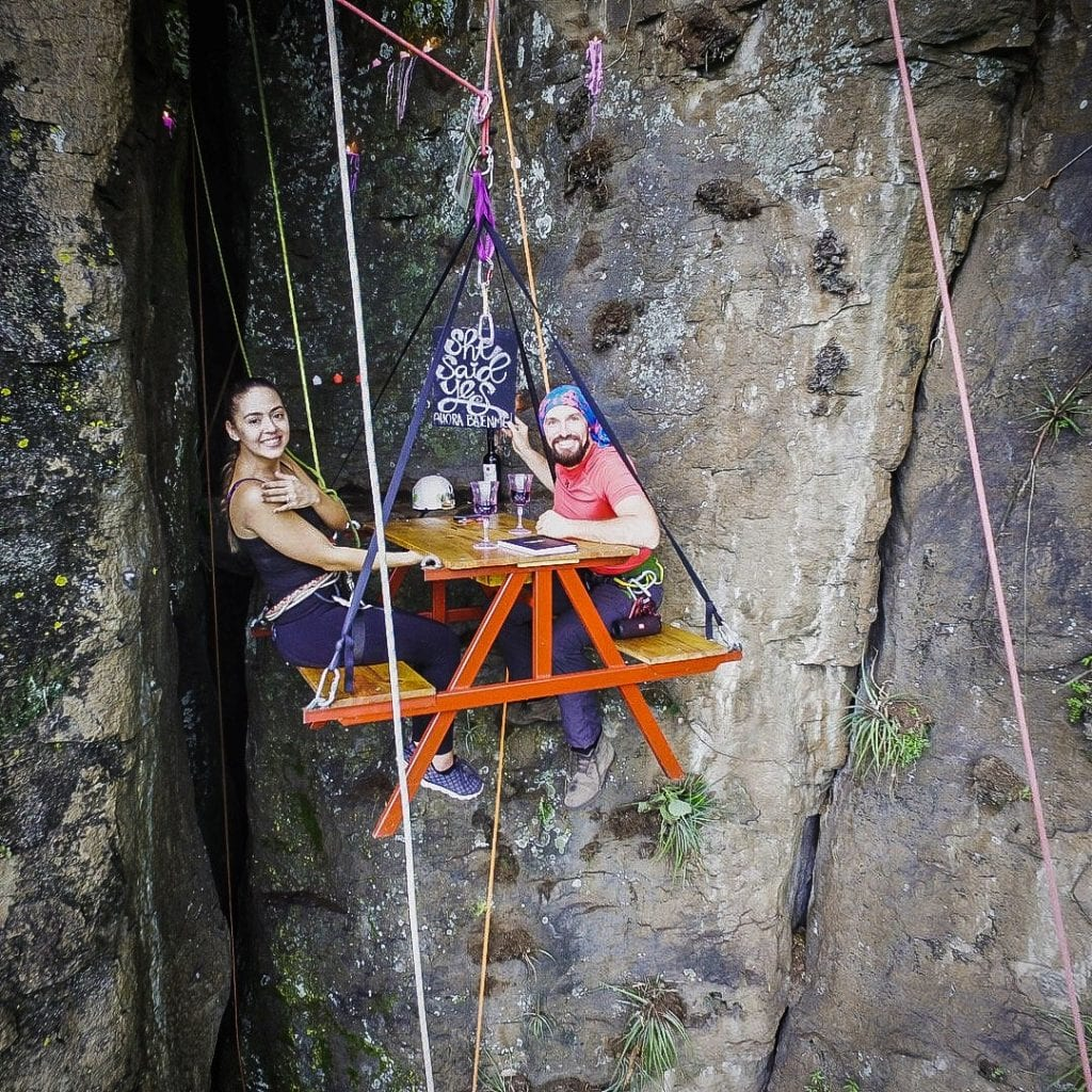 Adrenaline Junkie Proposes To His Girlfriend While Sitting On A Bench Suspended 330ft In The Air