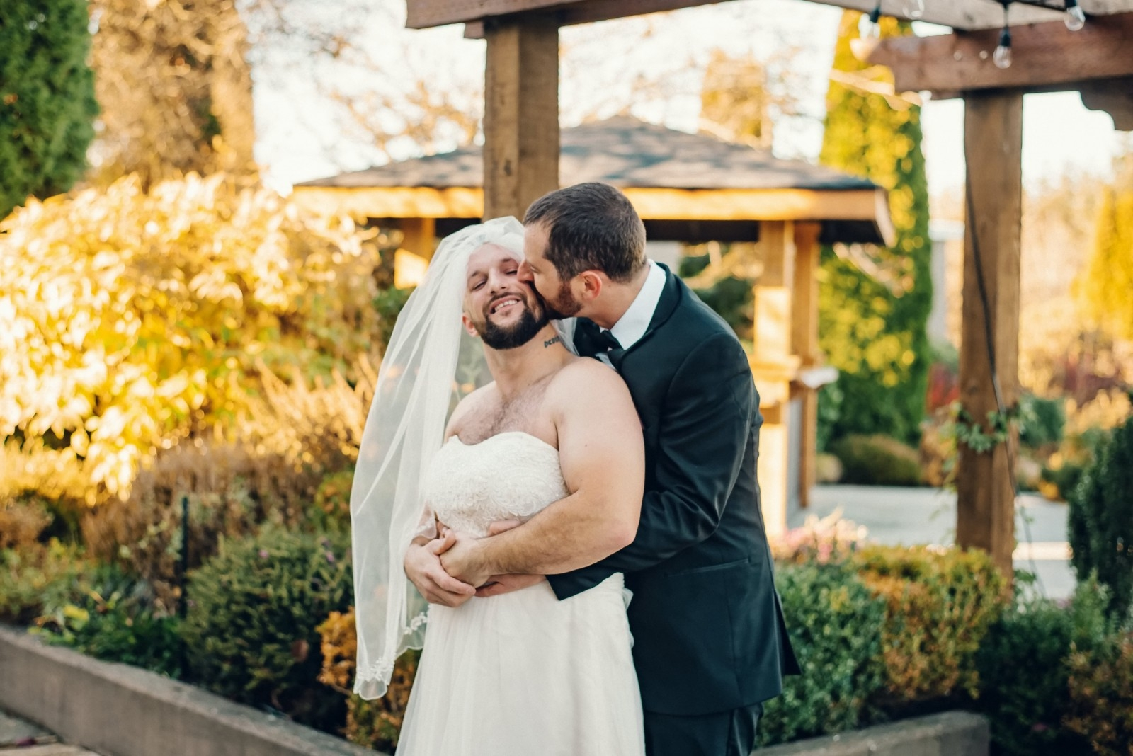 Groom In Fits Of Laughter After His Bearded Best Mate Traded Places With His Bride