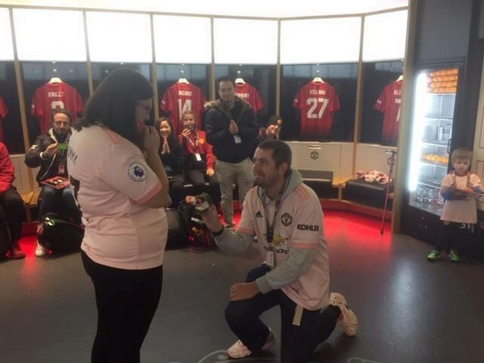 This Is The Moment A Manchester United Fan Popped The Question - In The Old Trafford Dressing Room