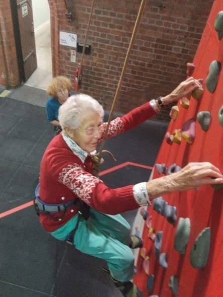 Grandma Climbs To The Top Of Rock-Climbing Wall After Trying It For The First Time Aged 99