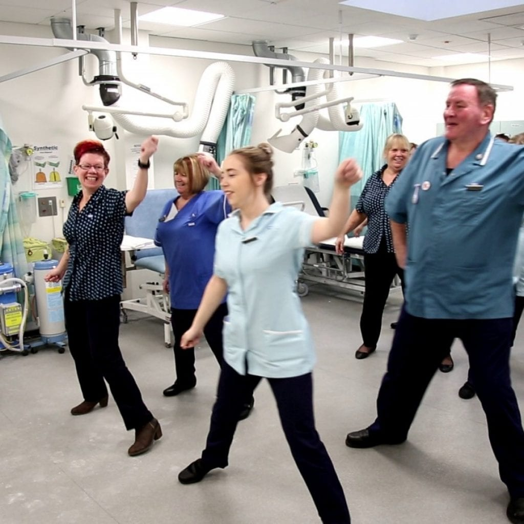 Hospital Orthopaedic Staff Start Morning Ballroom Dance Routine Before Their Shift