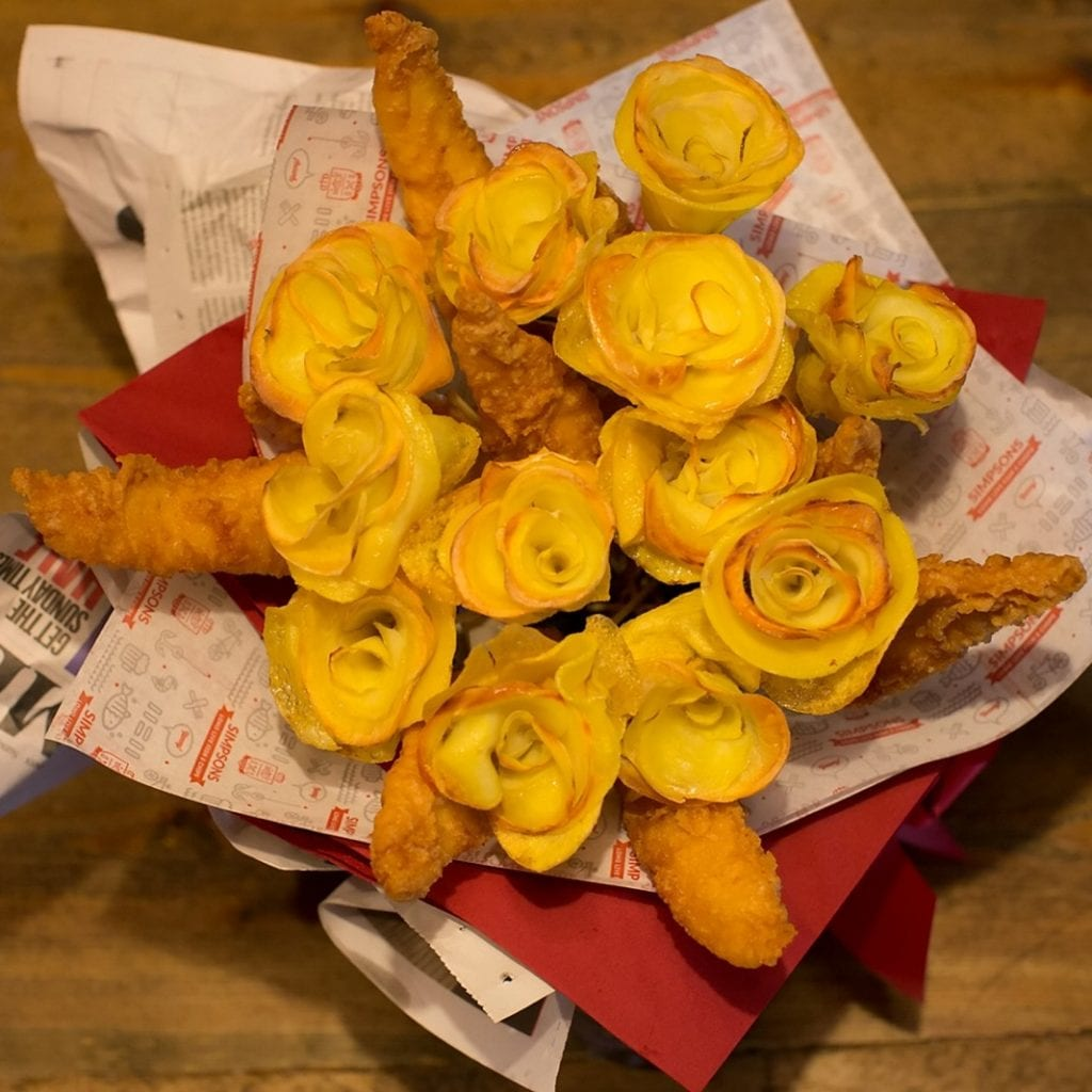 Takeaway Offers Valentine's 'Fish And Chip Bouquets' Featuring Deep-Fried Roses Carved From Potatoes