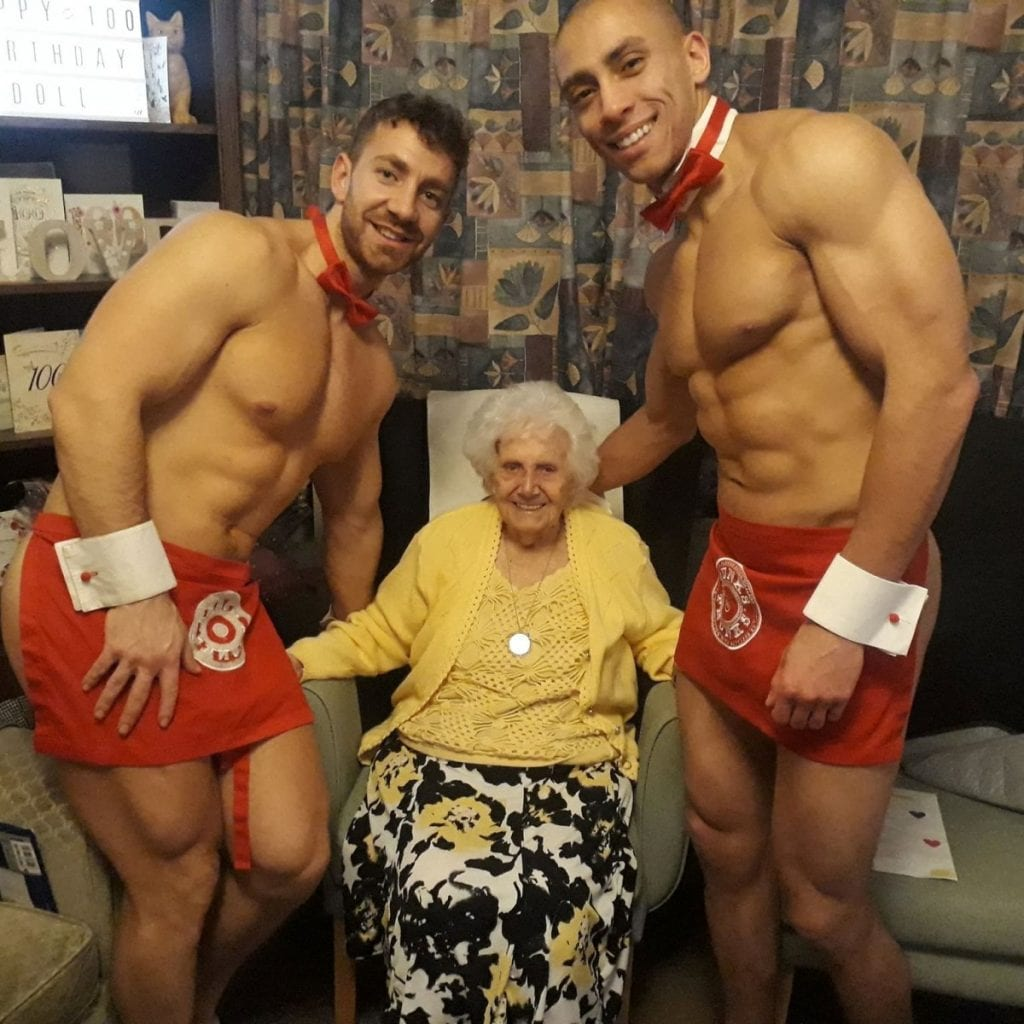 Great Great Grandmother Celebrates 100th Birthday With Hunks In Trunks
