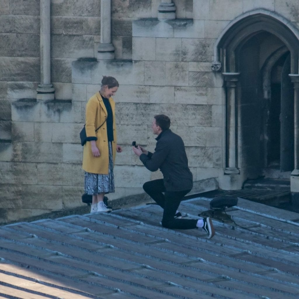 Young Woman Was Shocked & Delighted When Her Boyfriend Got Down On One Knee - On The Roof Of A Cathedral