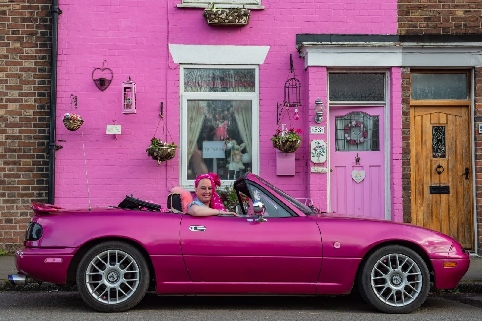Barbie Loving Woman Colours All Her Belongings PINK - Including Her House, Car And Caravan