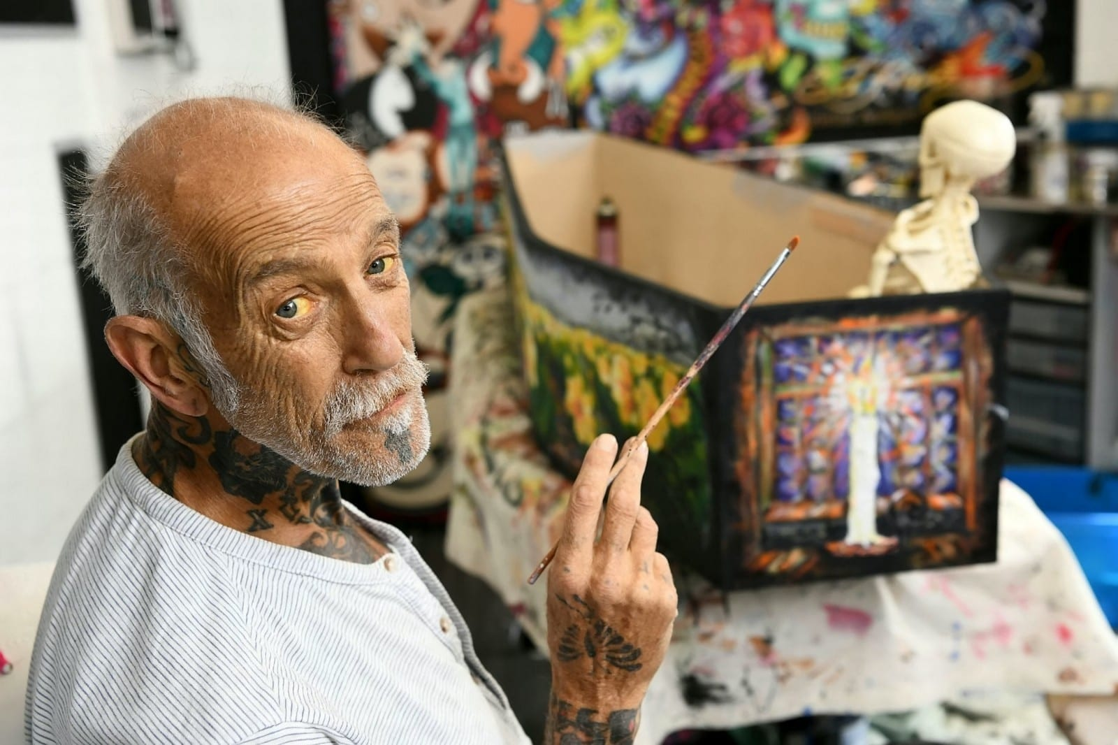 Tattoo Artist Dying Of Cancer Paints His Life Story - On His Own COFFIN