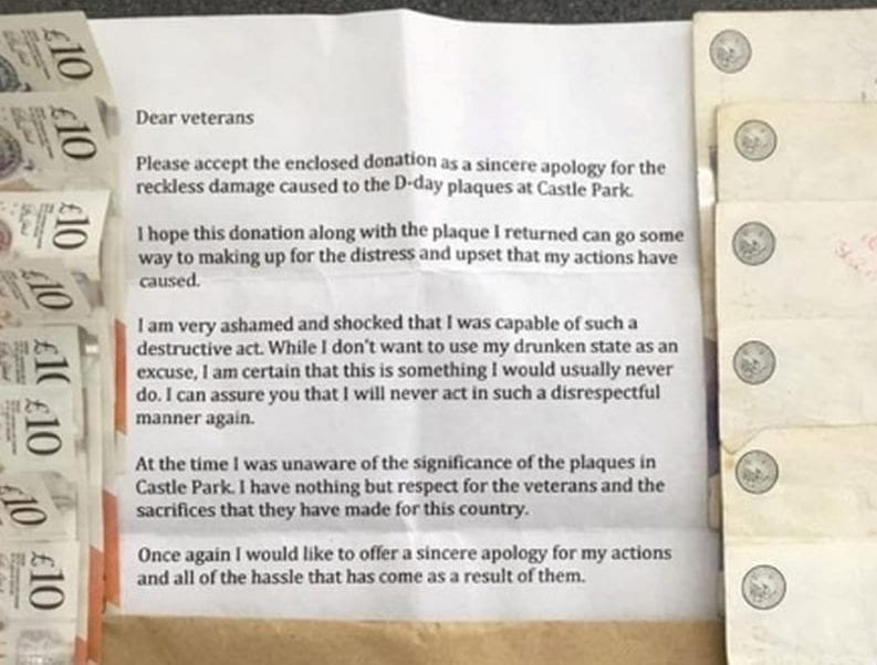 """Ashamed"" Thief Returns One Of Five D-Day Memorial Plaques He Stole From A Park – Along With Apology Letter And Over £200 In Cash"