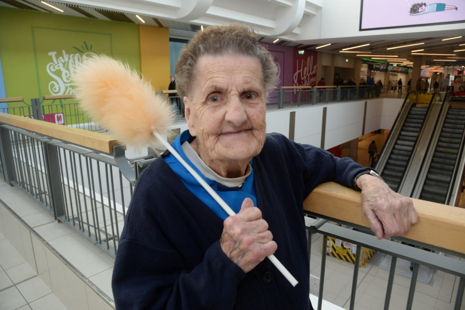 One Of Britain's Oldest Cleaners Has Returned To Work, Two Months After Breaking Her Hip In Nasty Fall
