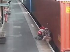Chilling Footage Shows Moment Pram Rolls Off Railway Platform And Into The Path Of Speeding Freight Train