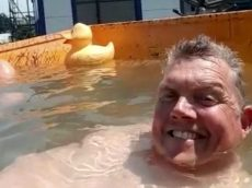 Builders Turn On Site Dumper Truck Into Mini Swimming Pool