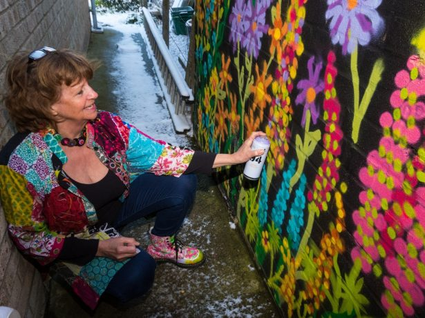 Artist Who Swapped Patch-Quilting to Become 'The Graffiti Granny' Says 'Everybody Should Have A Go'
