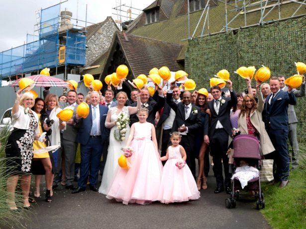 Husband And Wife Wear Hard Hats For Wedding Photos After Finding Pretty Church Covered In Scaffolding