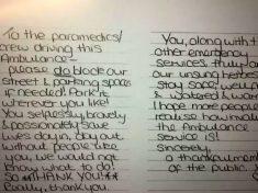 Heartwarming Handwritten Note Left On Ambulance Windscreen Praising Paramedics And Encouraging Them To Block Driveways