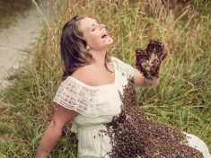 Mum Creates Buzz With Maternity Photos Where She Has 20,000 Bees On Her Baby Bump