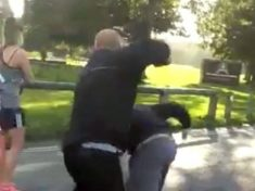 WATCH : Dramatic Footage Shows Asian Man Attacking Yob After Being Bombarded With Racist Abuse