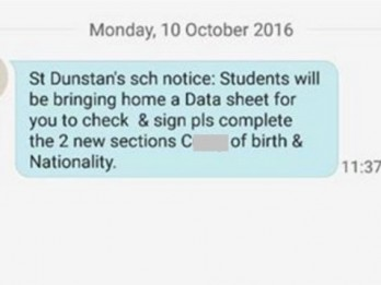 School apologises after accidentally texting the word 'c**t' to hundreds of parents