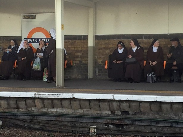 Stunned Commuter Spots Seven Nuns Sitting At SEVEN SISTERS Station!