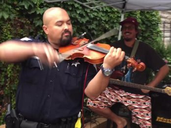 Revellers Who Thought Cop Was About To Shut Down Gig Stunned When He Starts Playing Violin
