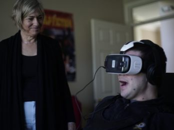 Emotional Moment Wheelchair Bound Man Who Has Never Walked Is Able To Fly Thanks To VR Glasses