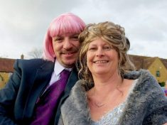 Devoted Husband Wears Bright Pink Wig Every Day For Three Months To Support Bride Undergoing Cancer Treatment