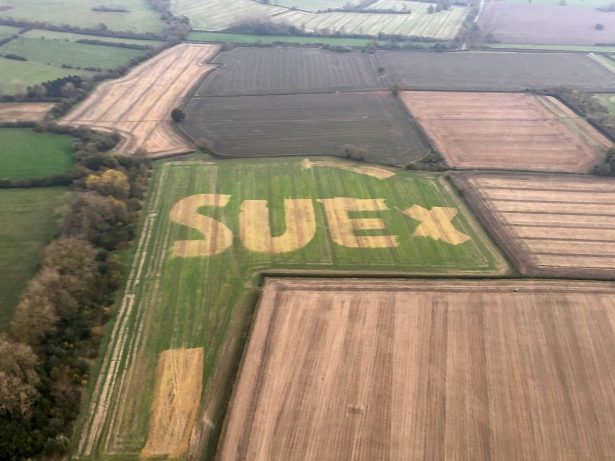 Police Spot Huge Message In Field To Lady Named Sue And Launch Bid To Track Her Down