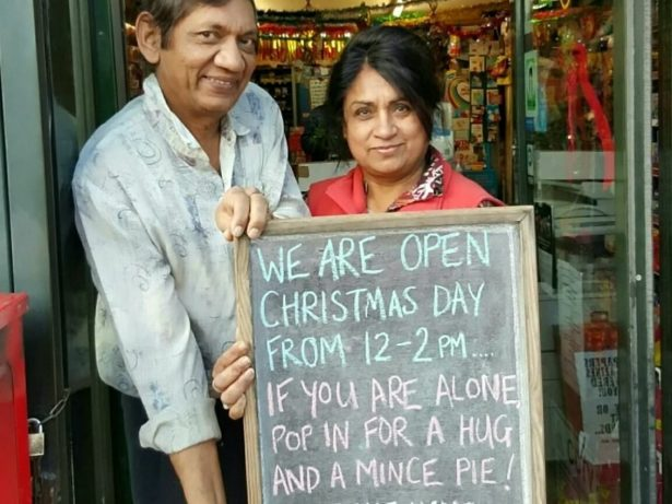 Newsagents Offering Free Hugs And Mince Pies To People On Christmas Day