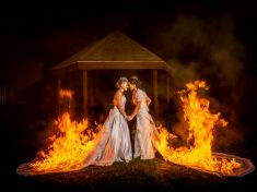 Adrenaline Junkie Brides Celebrate Marriage By Burning Their DRESSES After Walking Down The Aisle