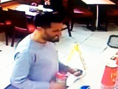 SICKENING: Brazen Thief Caught On CCTV Stealing Charity Box From Fast Food Restaurant While Joking With Staff