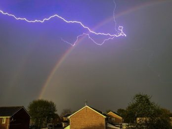 Flash Of Colour - Striking Pictures Show Flash Of Lightning Piercing Through Double Rainbow