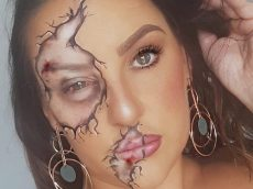 Woman Creates Broken Make-Up Effect Which Shows Blood And Scars To Highlight Domestic Abuse