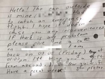Holidaymaker Riles Resident With Polite Note Through Door For Parking Outside House